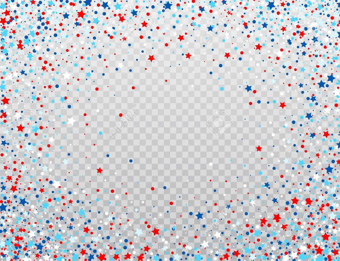 USA celebration confetti stars in national colors for American independence day isolated on background. Vector illustration - 77438235