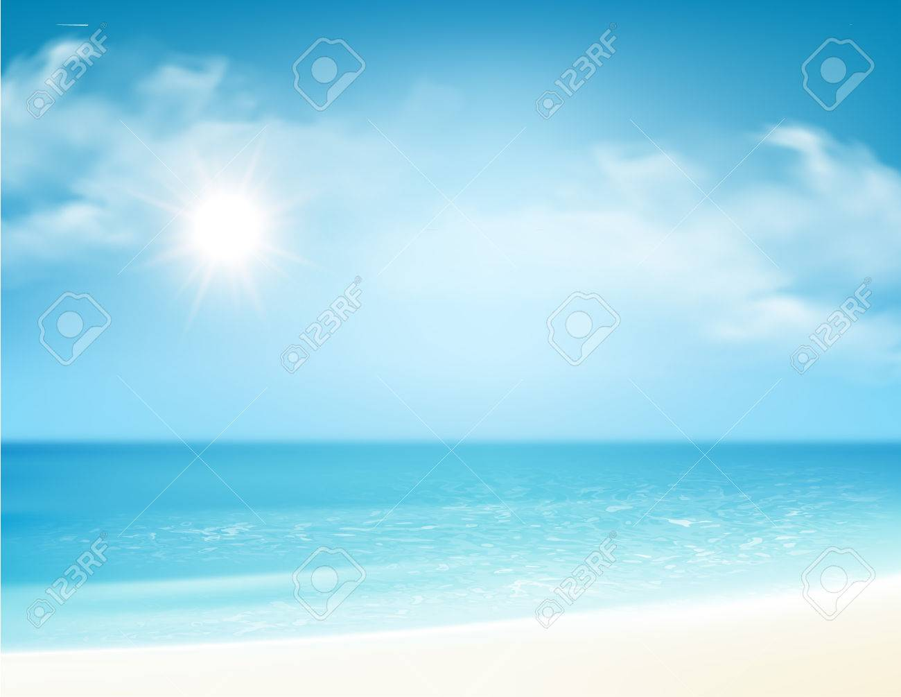 Beach and tropical sea with bright sun. Vector illustration - 80344275