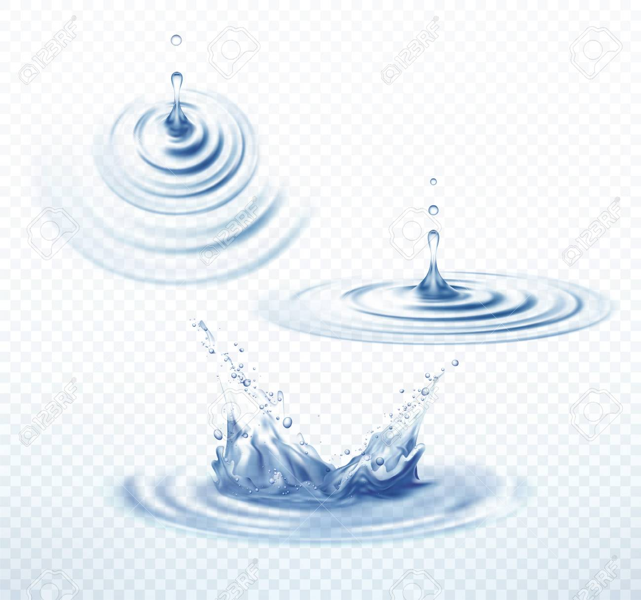 Realistic Transparent Drop and Circle Ripples set on isolated background. Vector illustration - 80329930