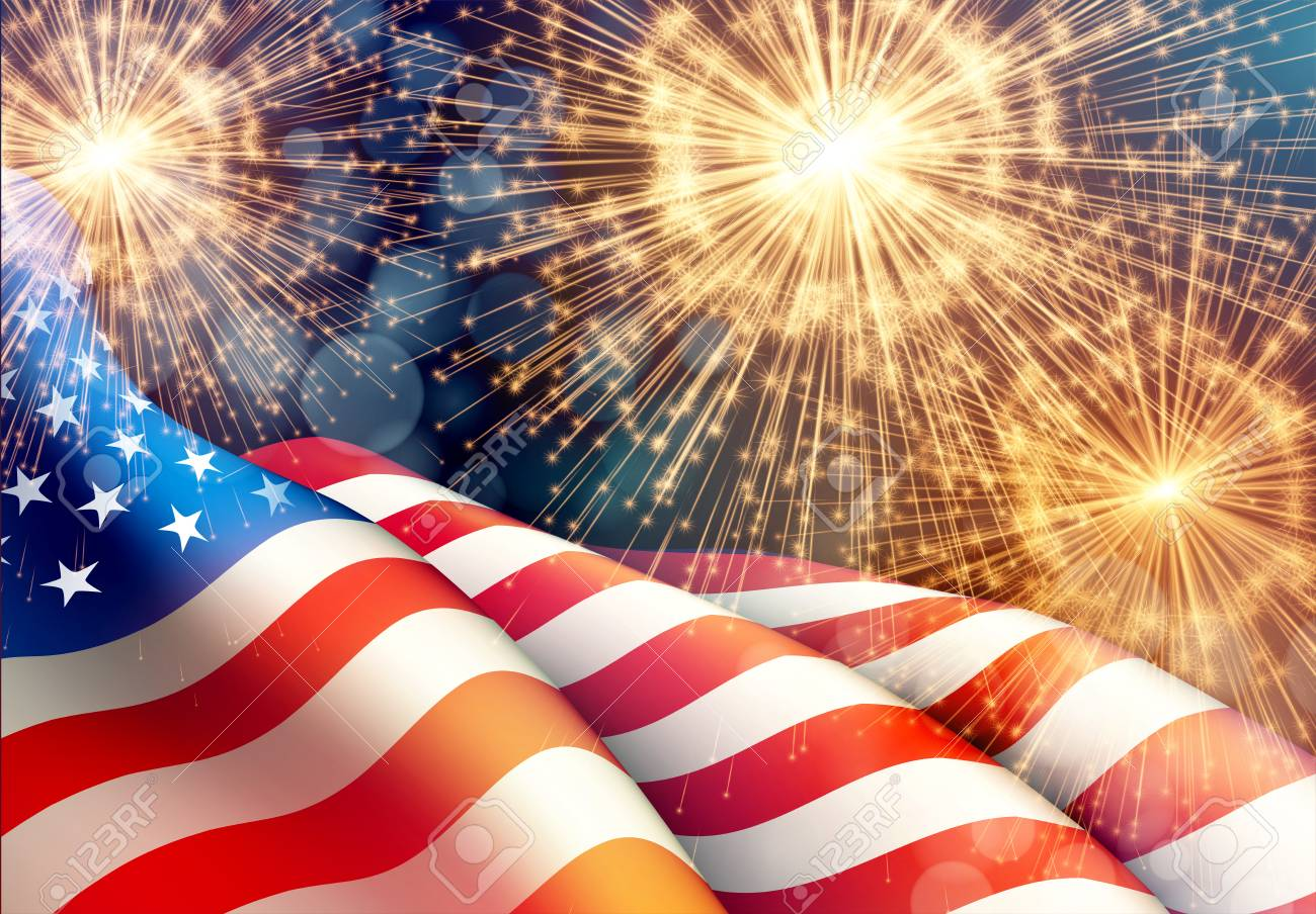 Fireworks background for 4th of July Independense Day with american flag. Vector illustration - 80330126