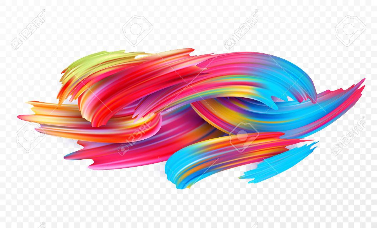 Color brushstroke oil or acrylic paint design element for presentations, flyers, leaflets, postcards and posters. Vector illustration - 87160659