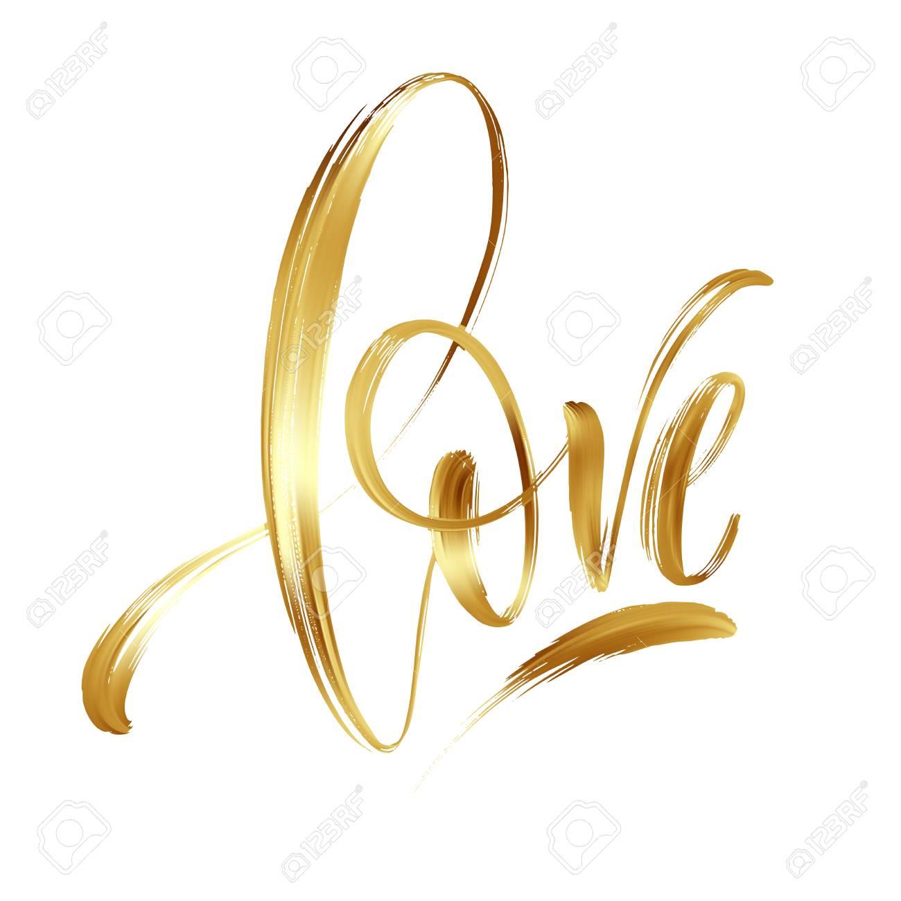 Love gold hand drawn brush calligraphy. Vector illustration - 93128493