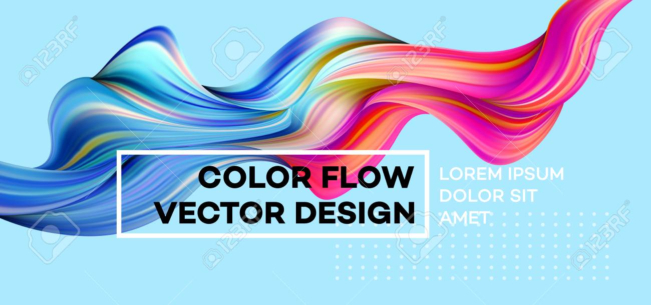 Modern colorful flow poster. Wave Liquid shape in blue color background. Art design for your design project. Vector illustration. - 94806462