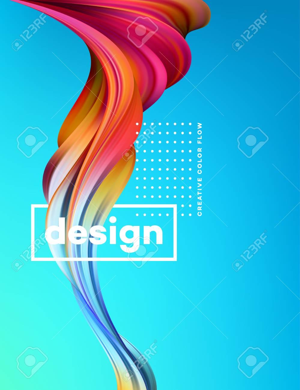 Modern colorful flow poster. Wave Liquid shape in blue color background. Art design for your design project. Vector illustration. - 94806468