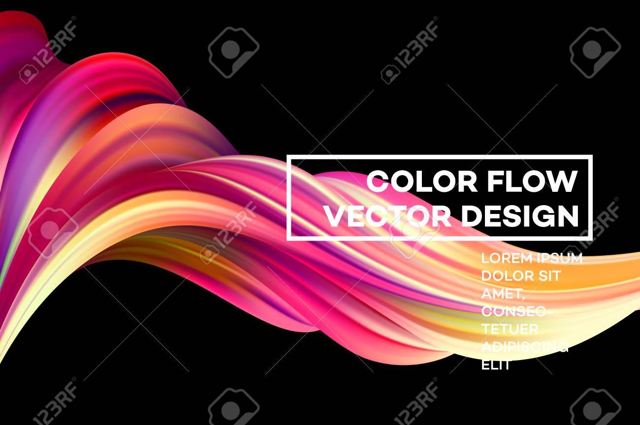 Modern colorful flow poster. Wave Liquid shape in black color background. Art design for your design project. Vector illustration. - 94813374