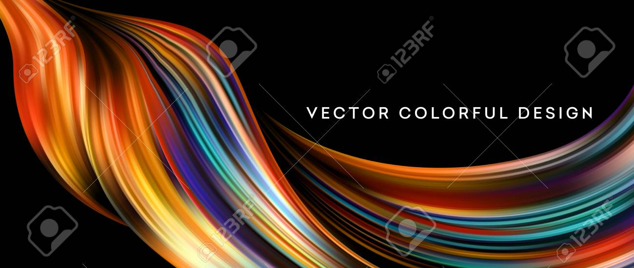 3d Abstract colorful fluid design. Vector illustration - 95037926
