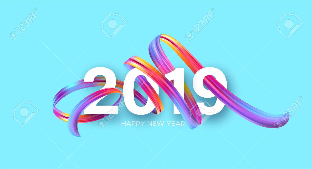 2019 New Year on the background of a colorful brushstroke oil or acrylic paint design element. Vector illustration - 105166241