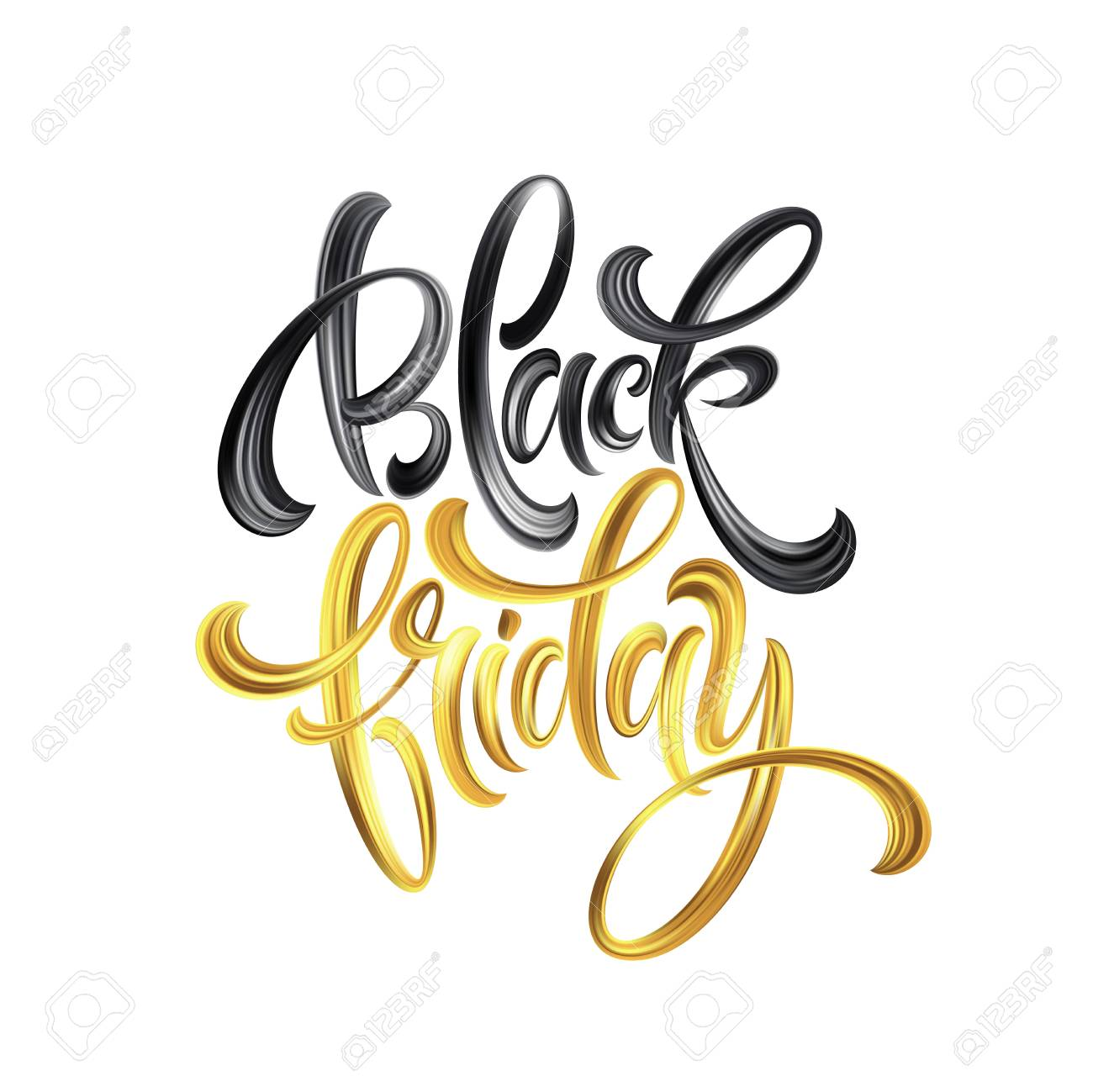 Gold Black Friday Sale calligrapy lettering. Vector illustration EPS10 - 107032957