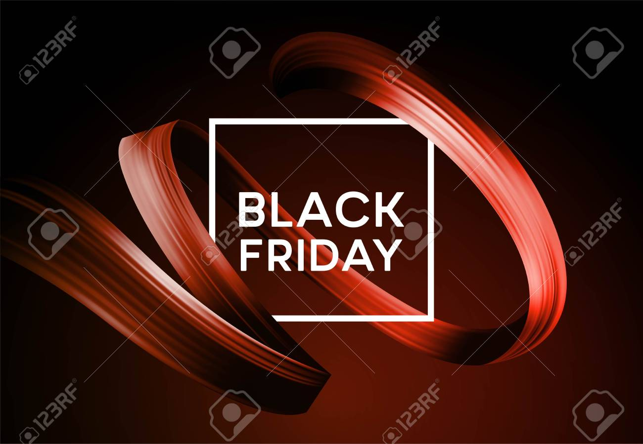 Black friday sale banner with flow color paint ribbon. Vector illustration EPS10 - 108593716