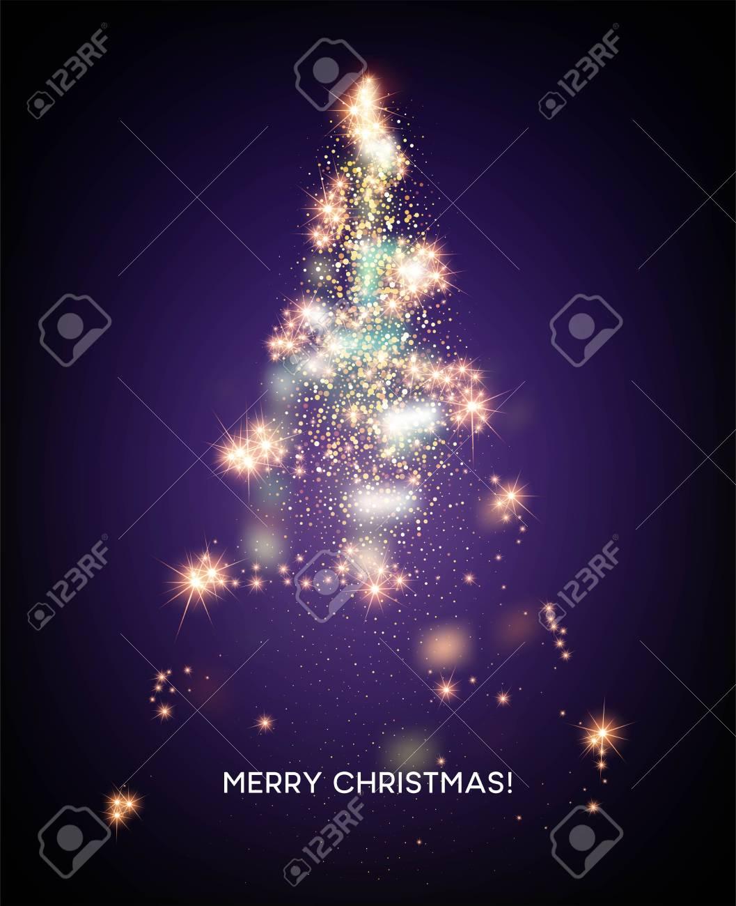Shining Christmas tree. Light star background. Vector illustration EPS10 - 108593736