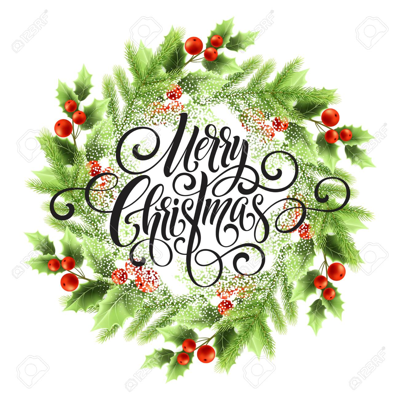 Merry Christmas lettering in mistletoe wreath. Christmas round frame with snow. Xmas mistletoe berries and fir branches wreath. Postcard and poster winter design. Isolated vector illustration - 108593763