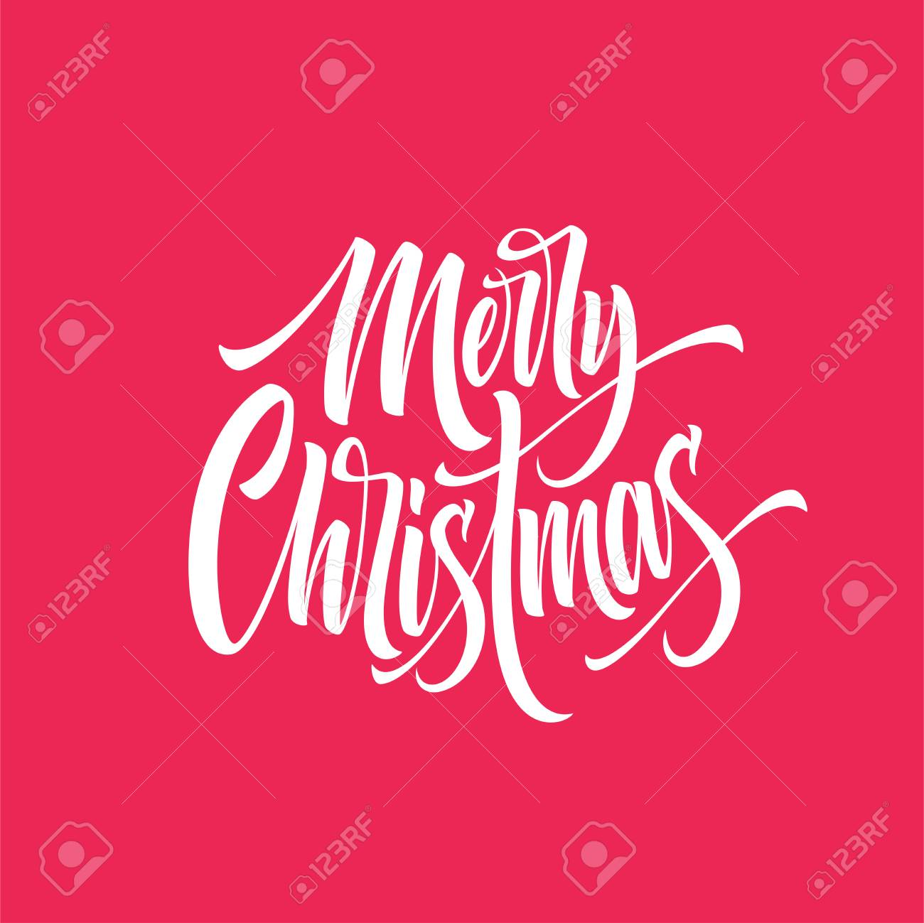 Christmas Lettering.Merry Christmas Hand Drawn Lettering Xmas Cursive Calligraphy