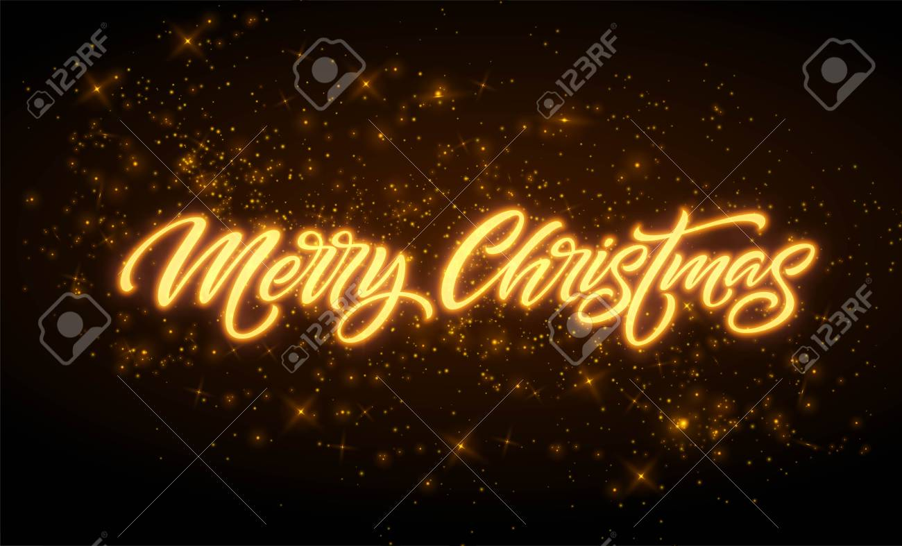 Merry Christmas Neon Lettering. Xmas Greeting Sign. Merry Christmas ...