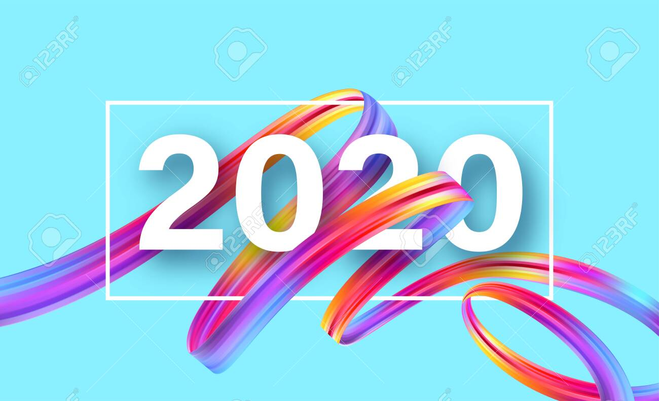 Happy New Year 2020. Lettering greeting inscription. Vector illustration EPS10 - 126102649