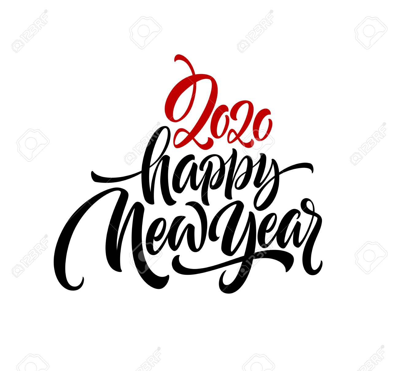 Happy New Year 2020. Lettering greeting inscription. - 126789853