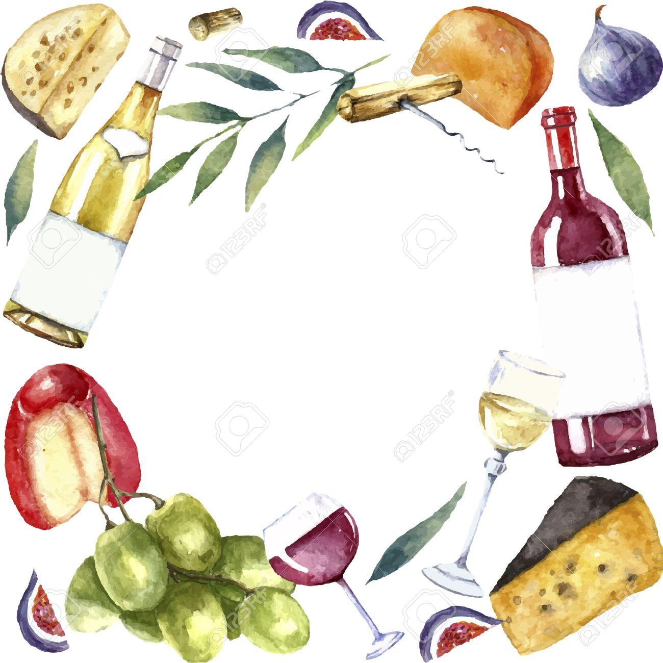 Aquarell Wein Und Käse Rahmen. Runde Rahmen Mit Hand Bemalt Essen ...