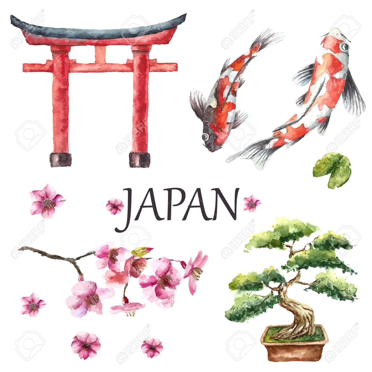Watercolor Hand Draw Japanese Design ElementsTorii Gate Bonsai