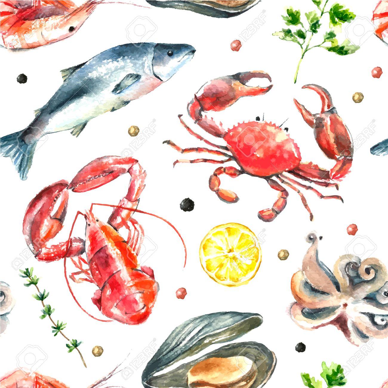 Patrón De La Acuarela De Seafood.Hand Dibujar Ilustración Aislada En ...