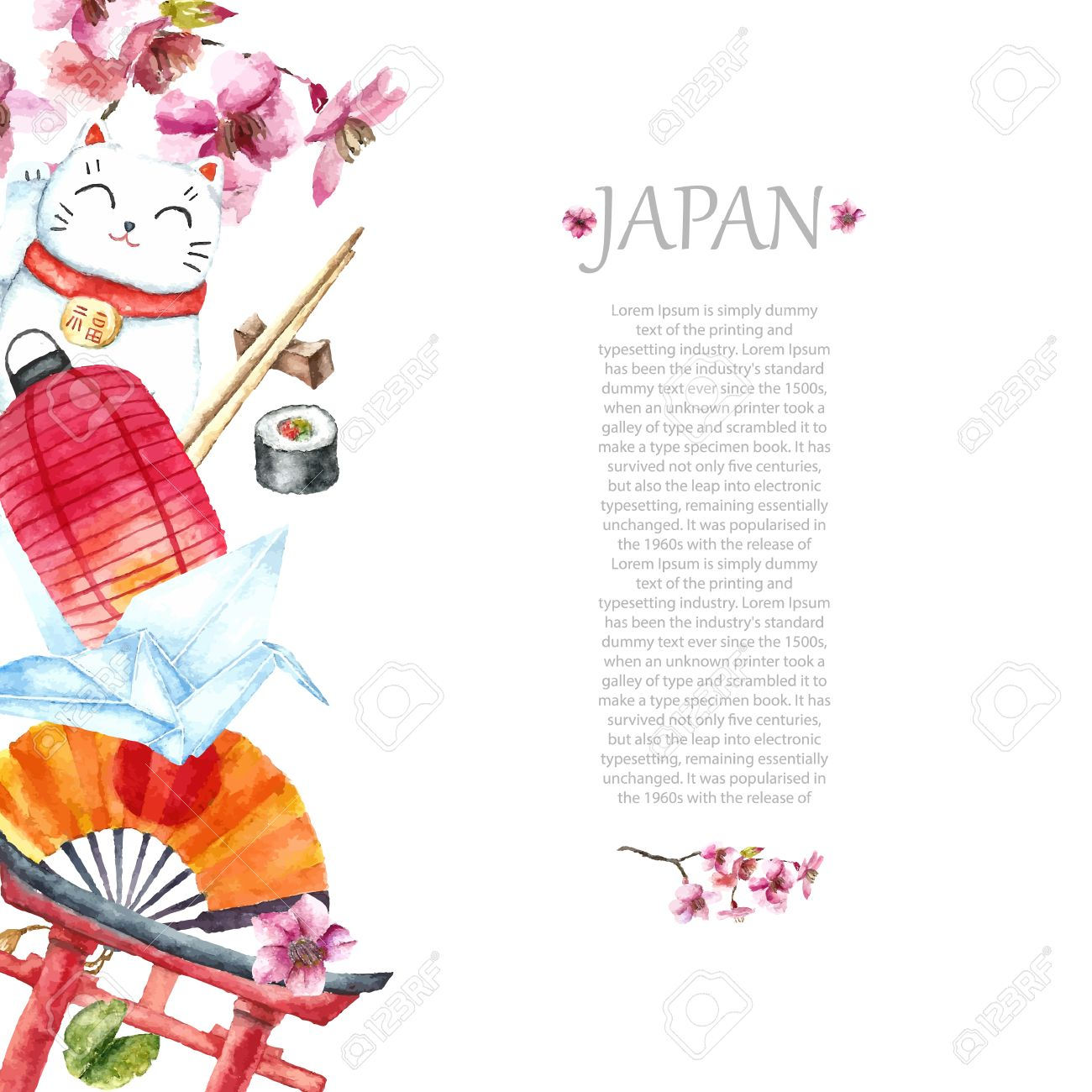 Watercolor Japanese Frame. Frame With Hand Draw Japanese Objects ...