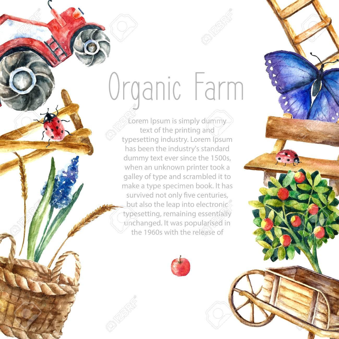 Aquarell Bio-Bauernhof Rahmen. Grußkarte Hintergrund Mit Traktor ...