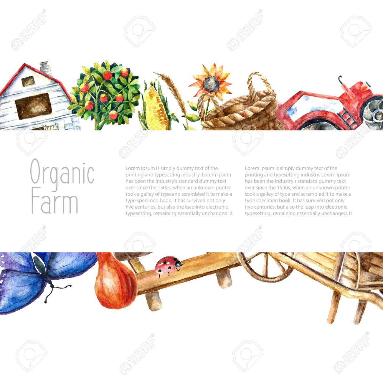 Watercolor Organic Farm Frame. Greeting Card Background With ...