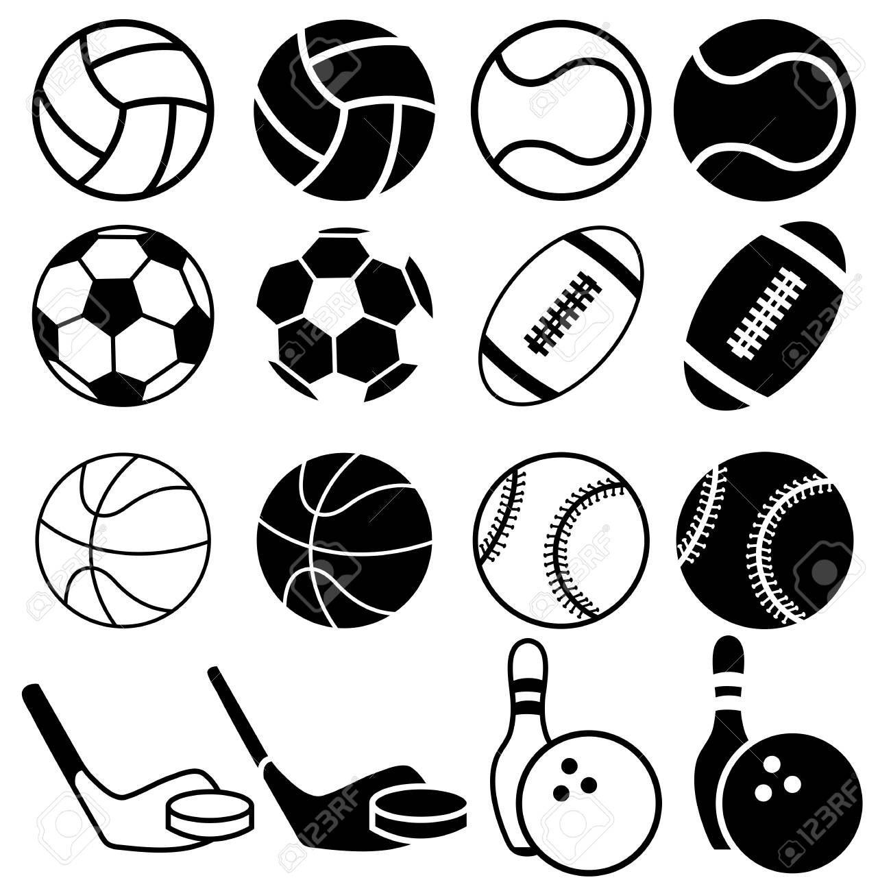 Set Of Black And White Sports Balls Icons Vector Illustration Royalty Free Cliparts Vectors And Stock Illustration Image 58721010