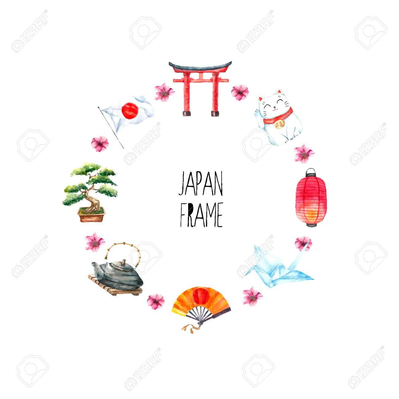 Watercolor Japanese Frame. Round Frame With Hand Draw Japanese ...