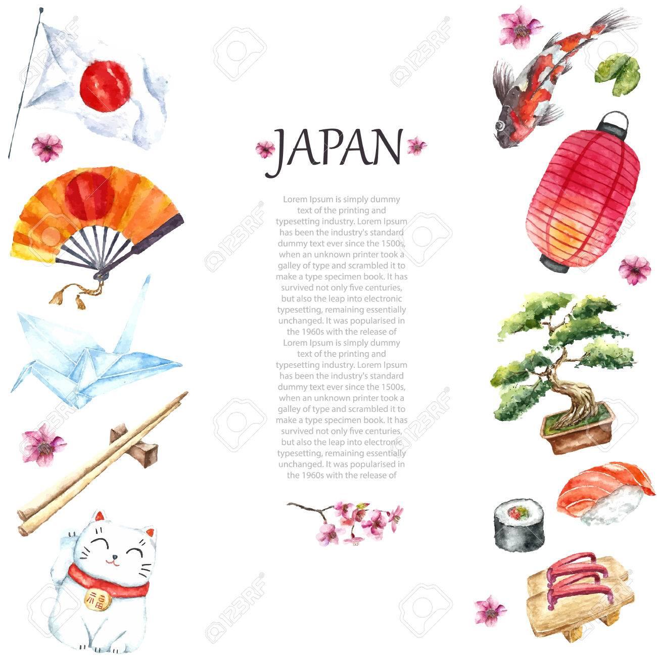 Watercolor japanese frame frame with hand draw japanese objects frame with hand draw japanese objectstorii gateorigami bird jeuxipadfo Choice Image