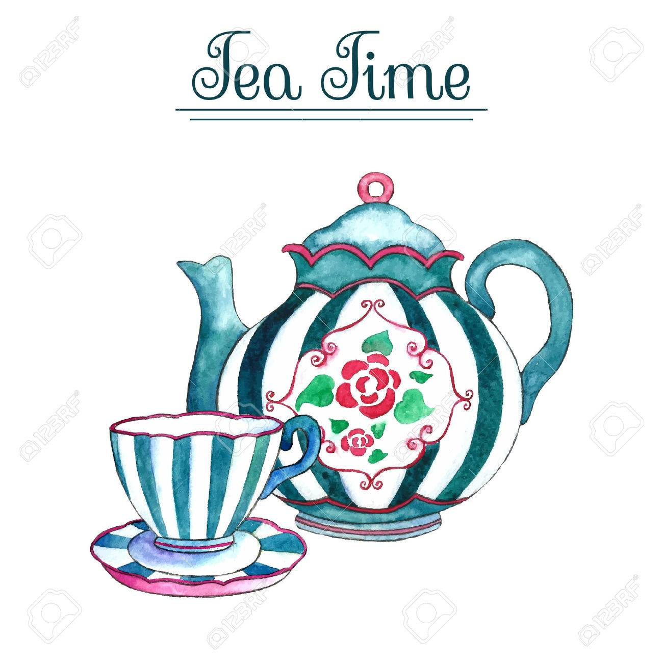 Watercolor teapot and cup on the white backgrounds. Vector illustration. - 59268407