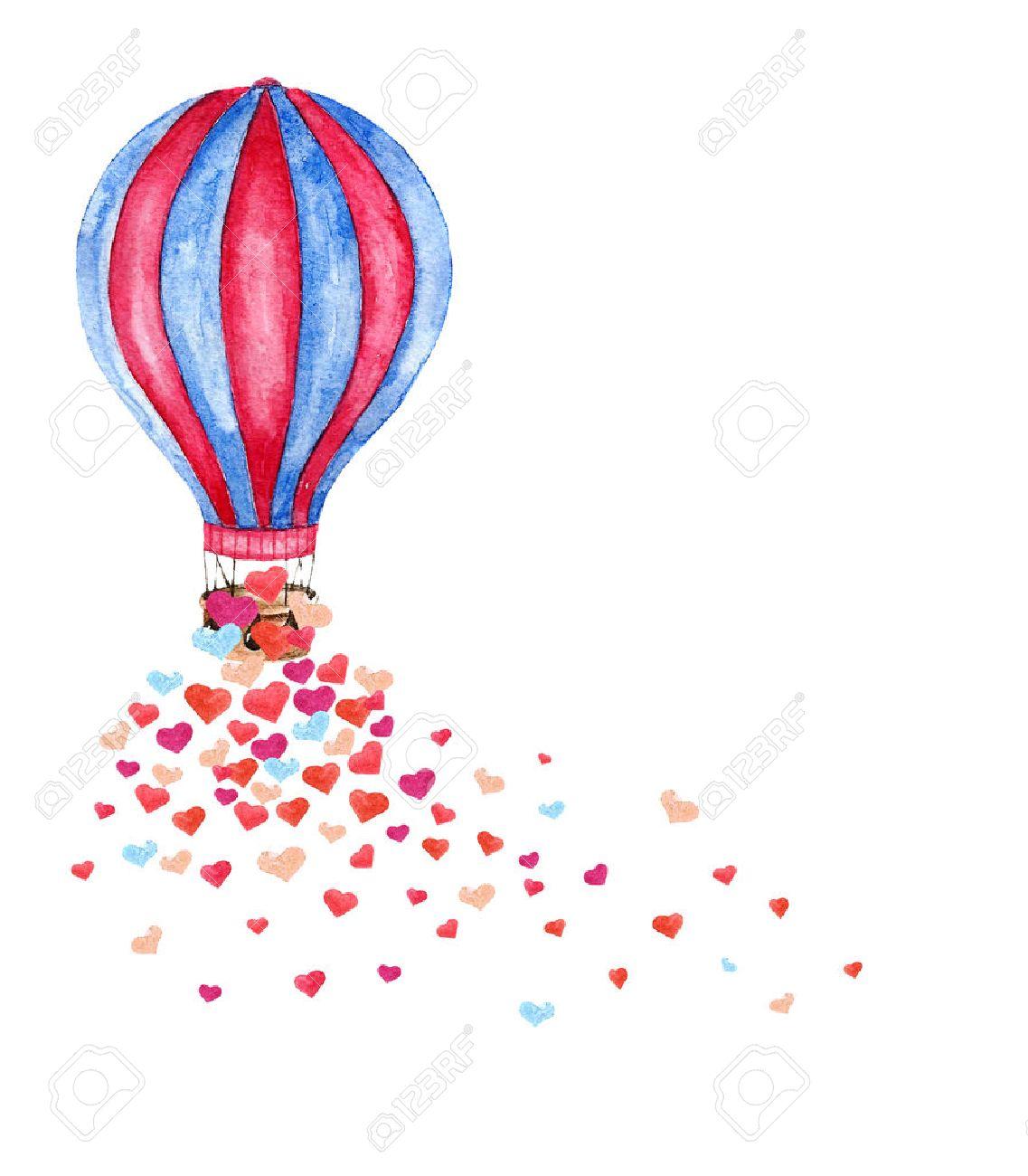 Aquarell Helle Karte Mit Dem Heißluftballon Und Viele Herzen. Hand ...