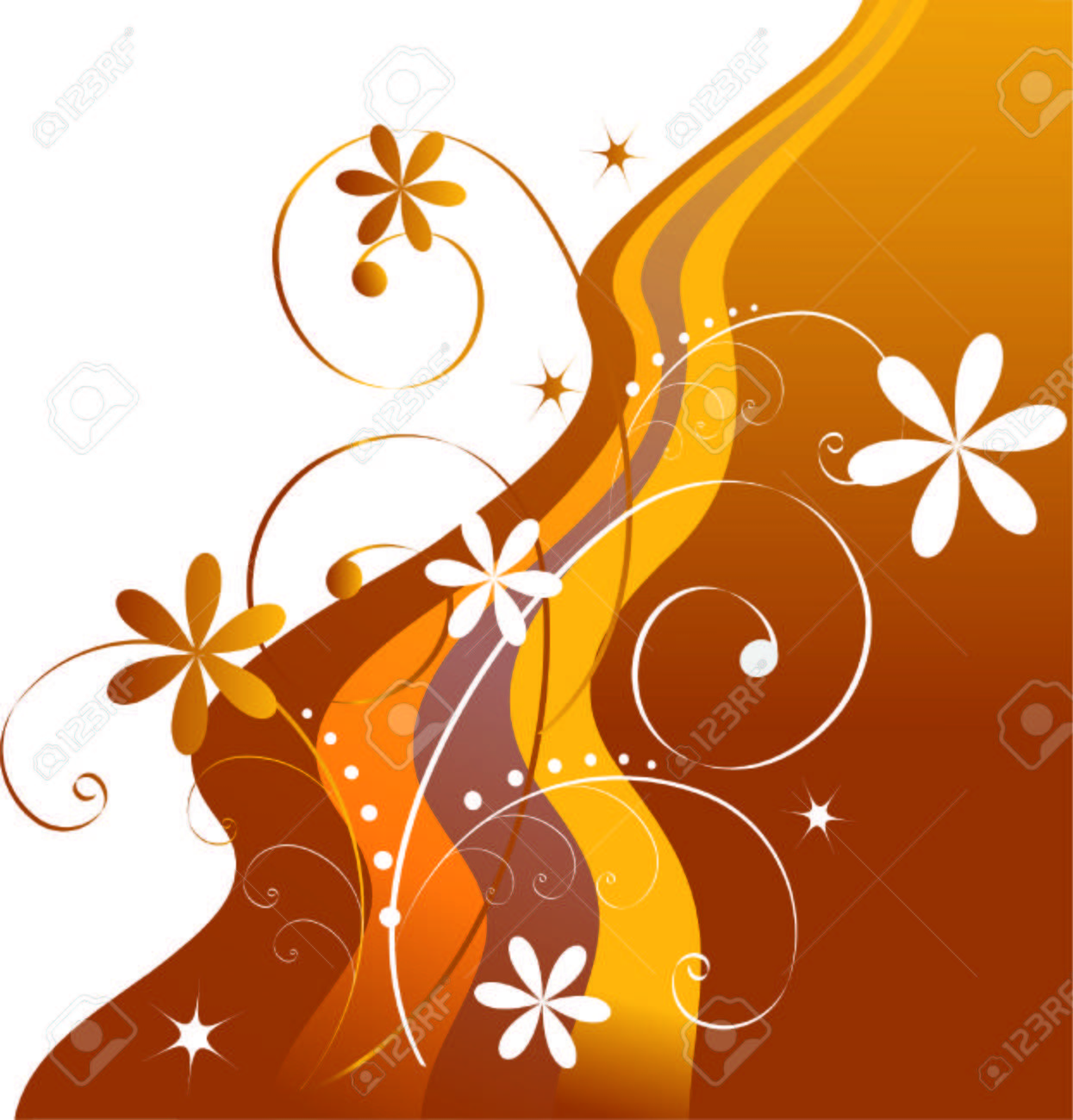 Abstract background of yellow-brown flowers and ribbons. Stock Vector - 6386611