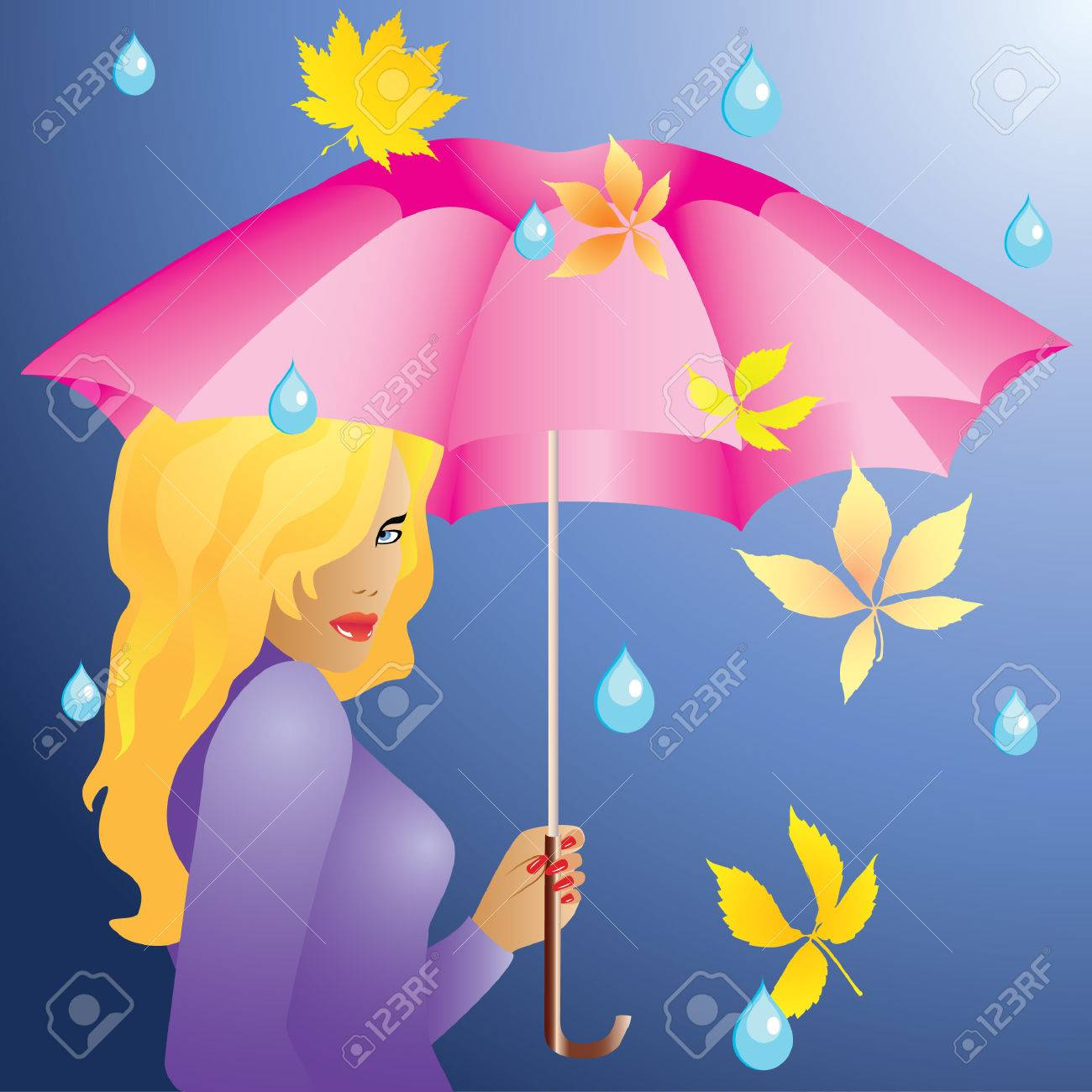 The girl and the rain. Stock Vector - 7896773