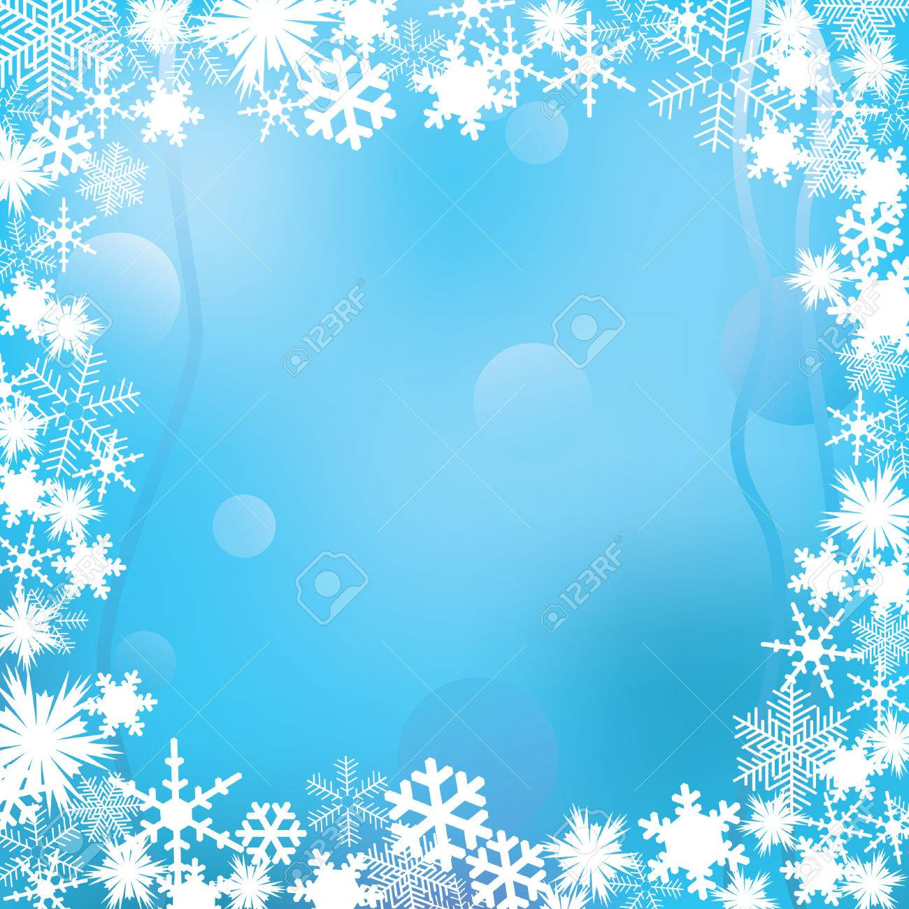 frame of white snowflakes on a winter background stock vector 8213094