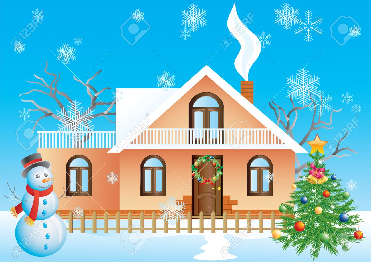 Christmas landscape with house, tree and snowman. Stock Vector - 8435480