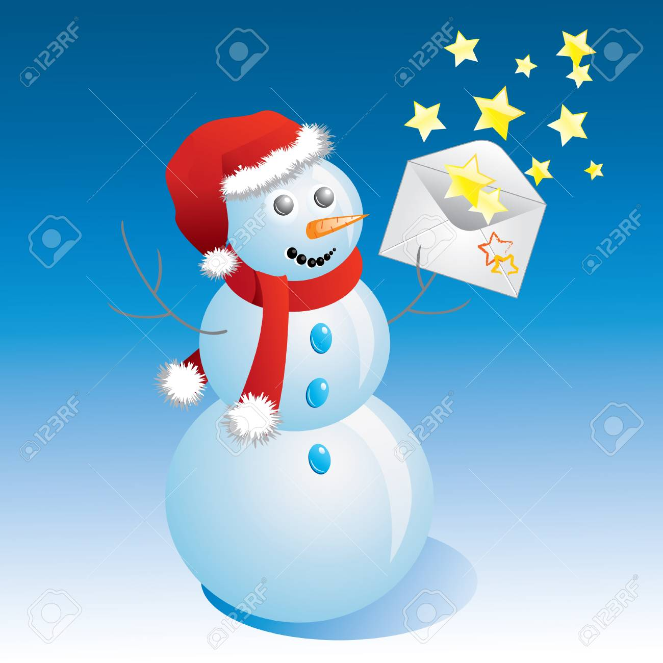snowman with a message and the stars. Stock Vector - 8476524