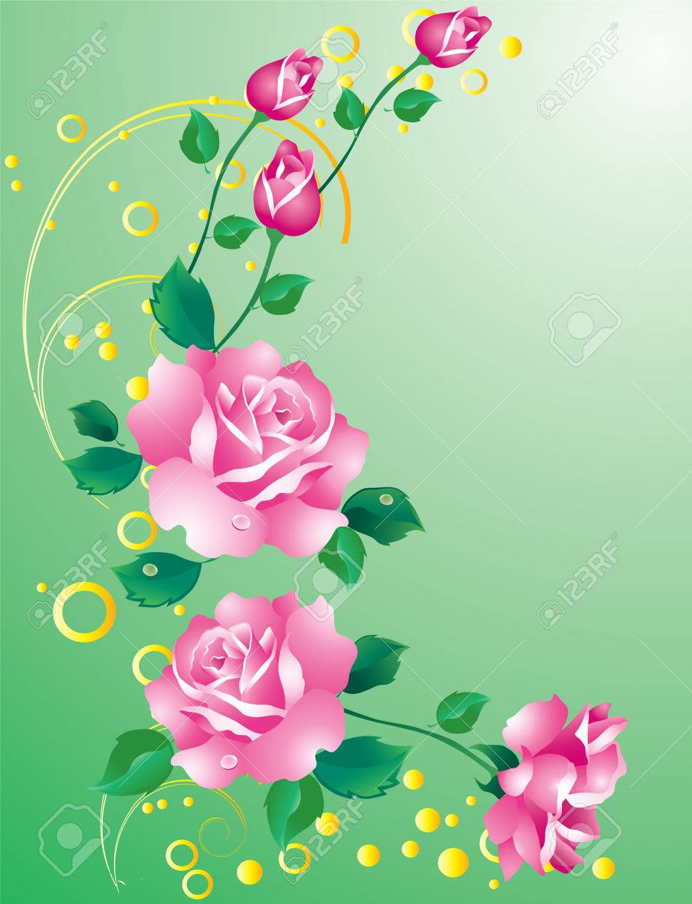 4a4b76b9c430 Abstract background with ornaments and pink roses Stock Vector - 8802244