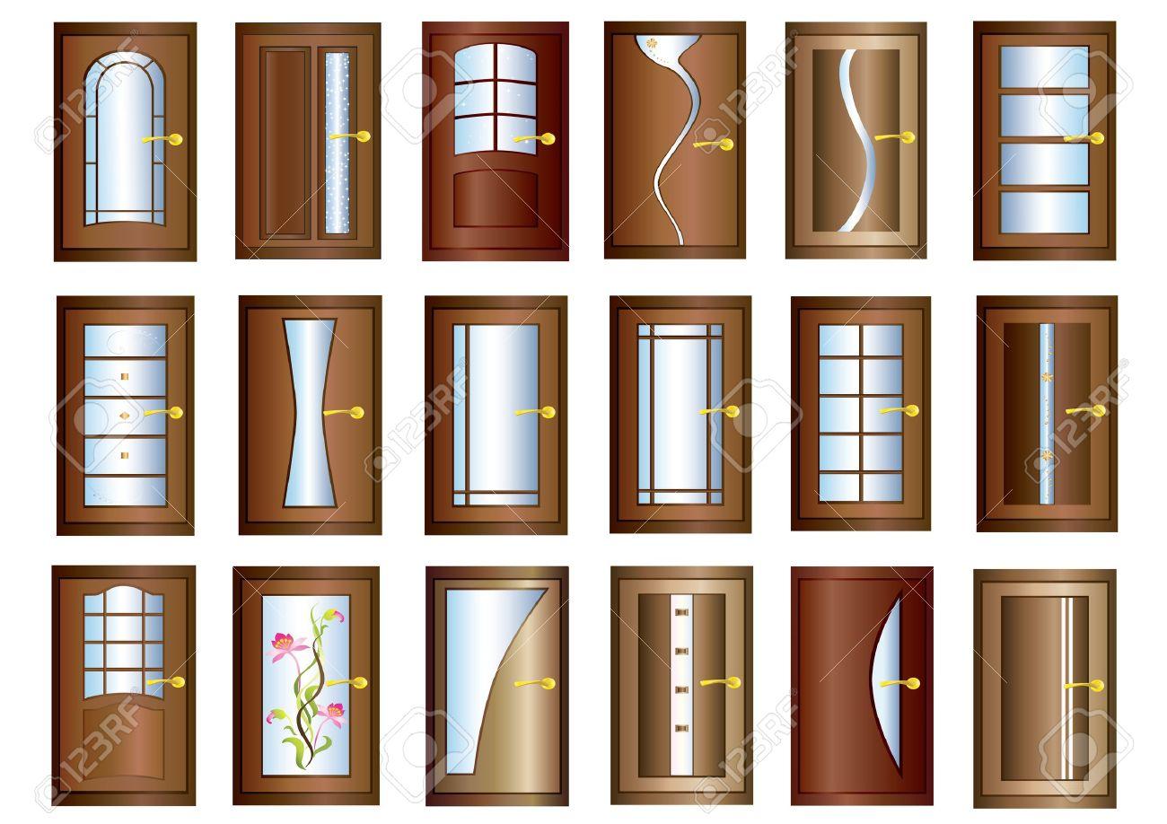 Door Collection of brown doors with golden handles over white background Stock Vector - 16675386  sc 1 st  123RF.com & Door Collection Of Brown Doors With Golden Handles Over White ...
