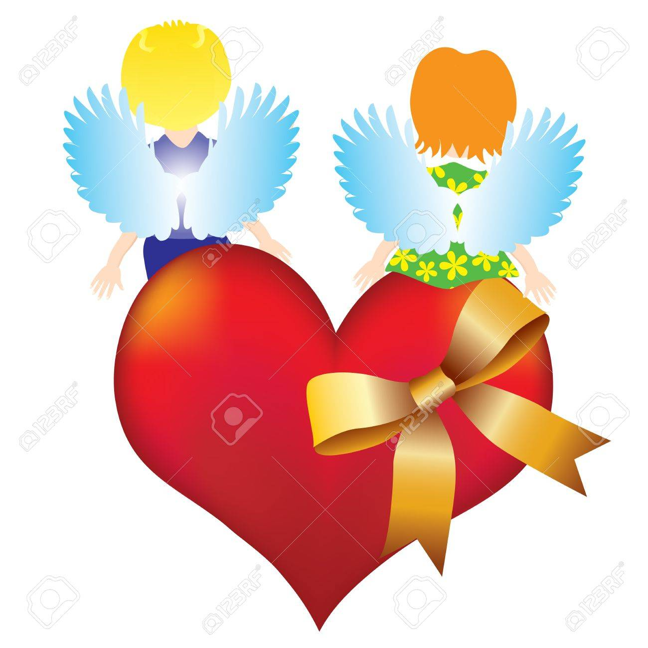 Valentines backgroundAbstract background with two angels sitting on heart Stock Vector - 17621669