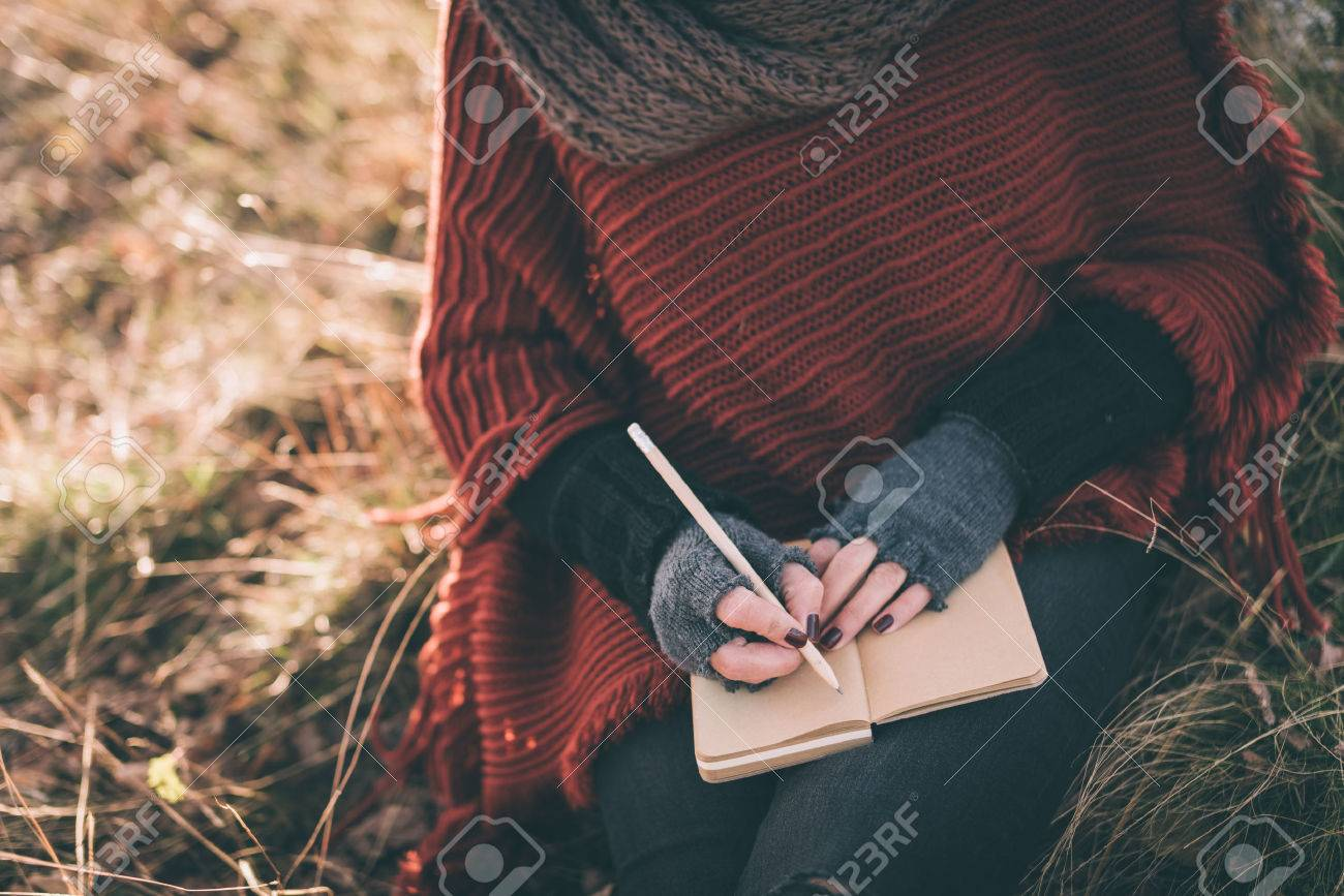 woman writing in the notebook stock photo, picture and royalty free