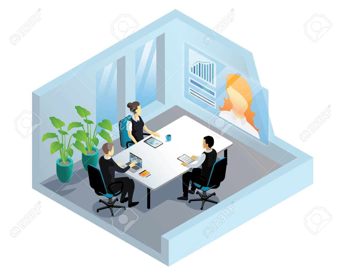 Isometric video conference in office - 97995947