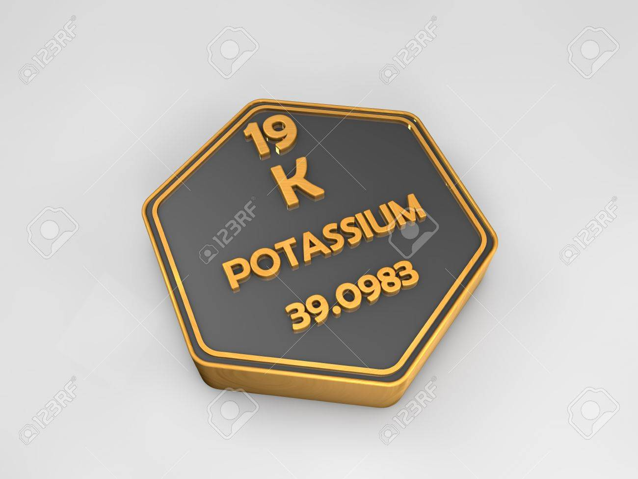 Potassium K Chemical Element Periodic Table Hexagonal Shape