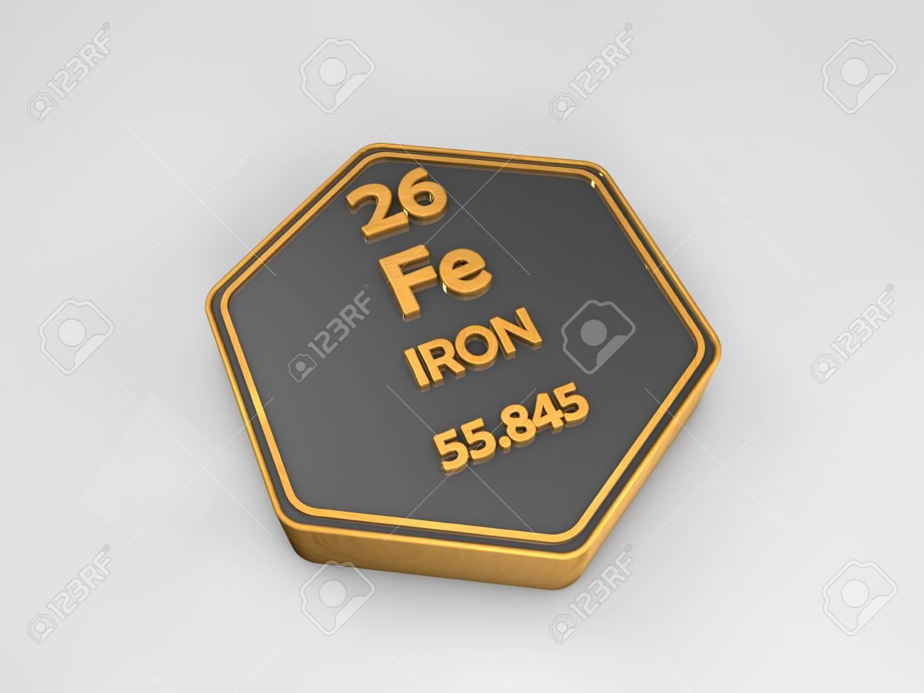 Iron Fe Chemical Element Periodic Table Hexagonal Shape 3d