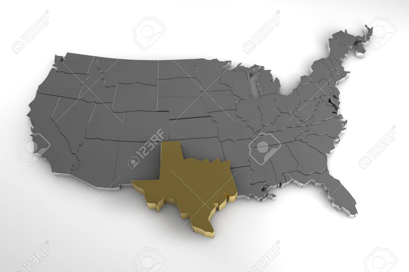 United States Of America, 3d Metallic Map, With Texas State ...