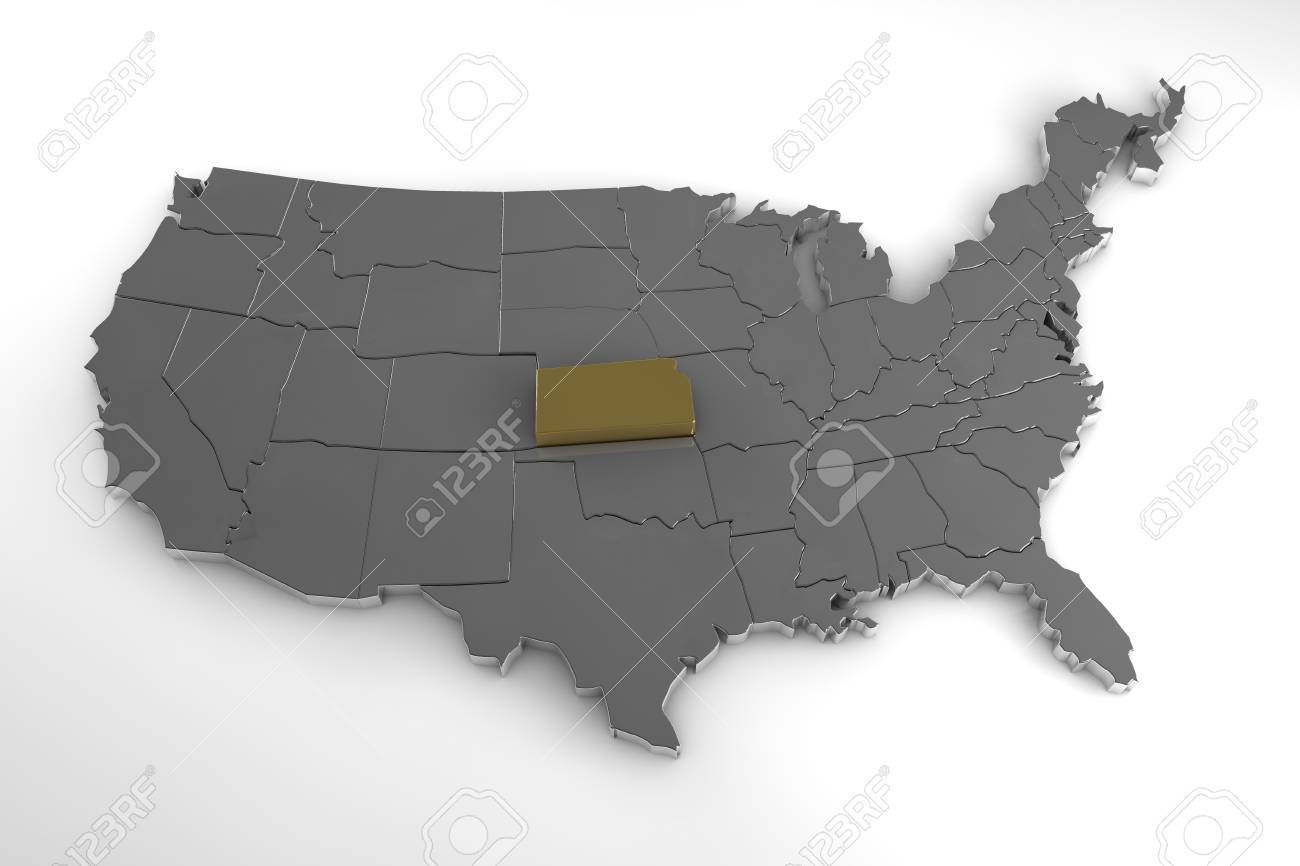 Map Of America Kansas.United States Of America 3d Metallic Map With Kansas State
