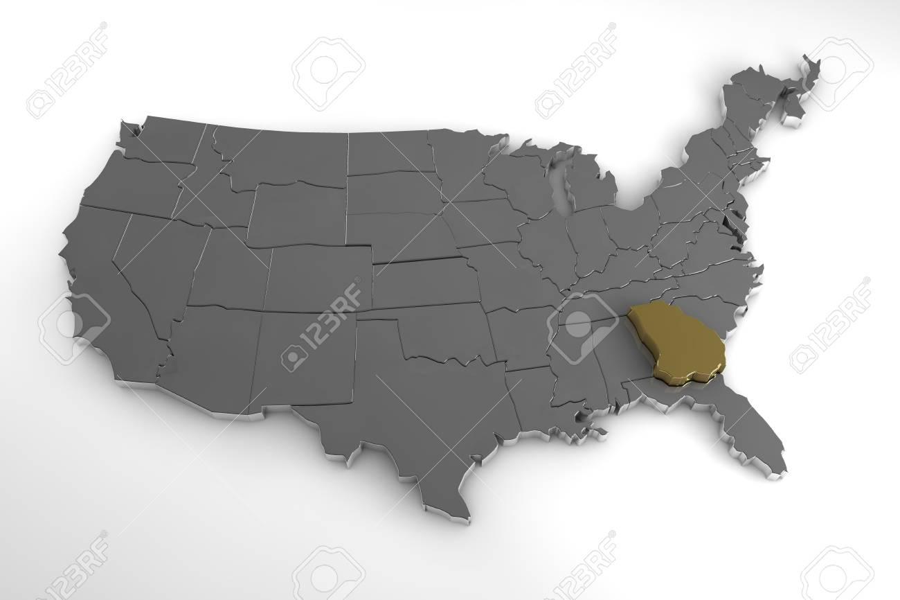 Map Of America Georgia.United States Of America 3d Metallic Map With Georgia State