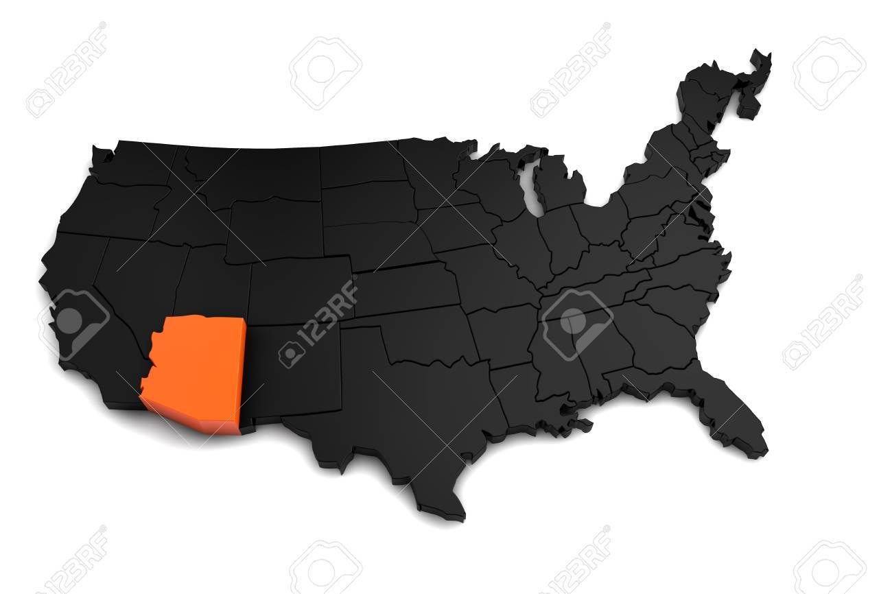 United States of America, 3d black map, with Arizona state highlighted..