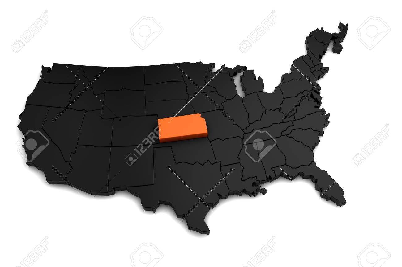Map Of America Kansas.United States Of America 3d Black Map With Kansas State Highlighted