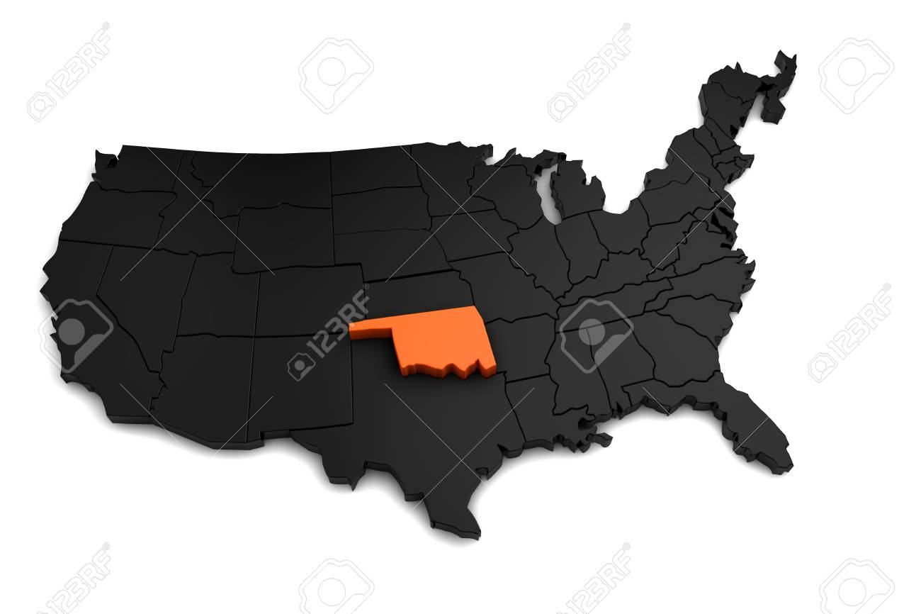 Oklahoma On Map Of United States.United States Of America 3d Black Map With Oklahoma State