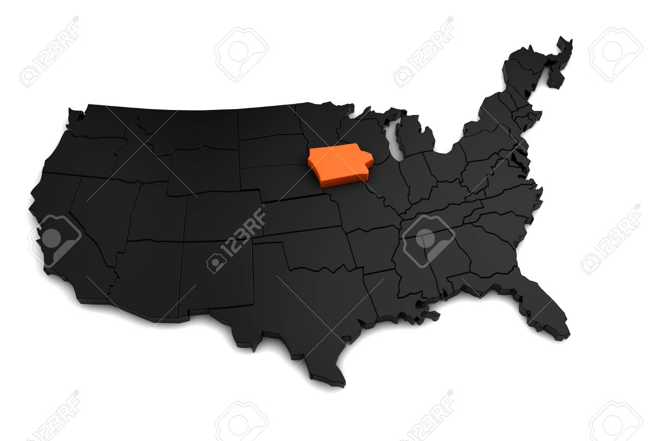 United States Of America, 3d Black Map, With Iowa State Highlighted ...