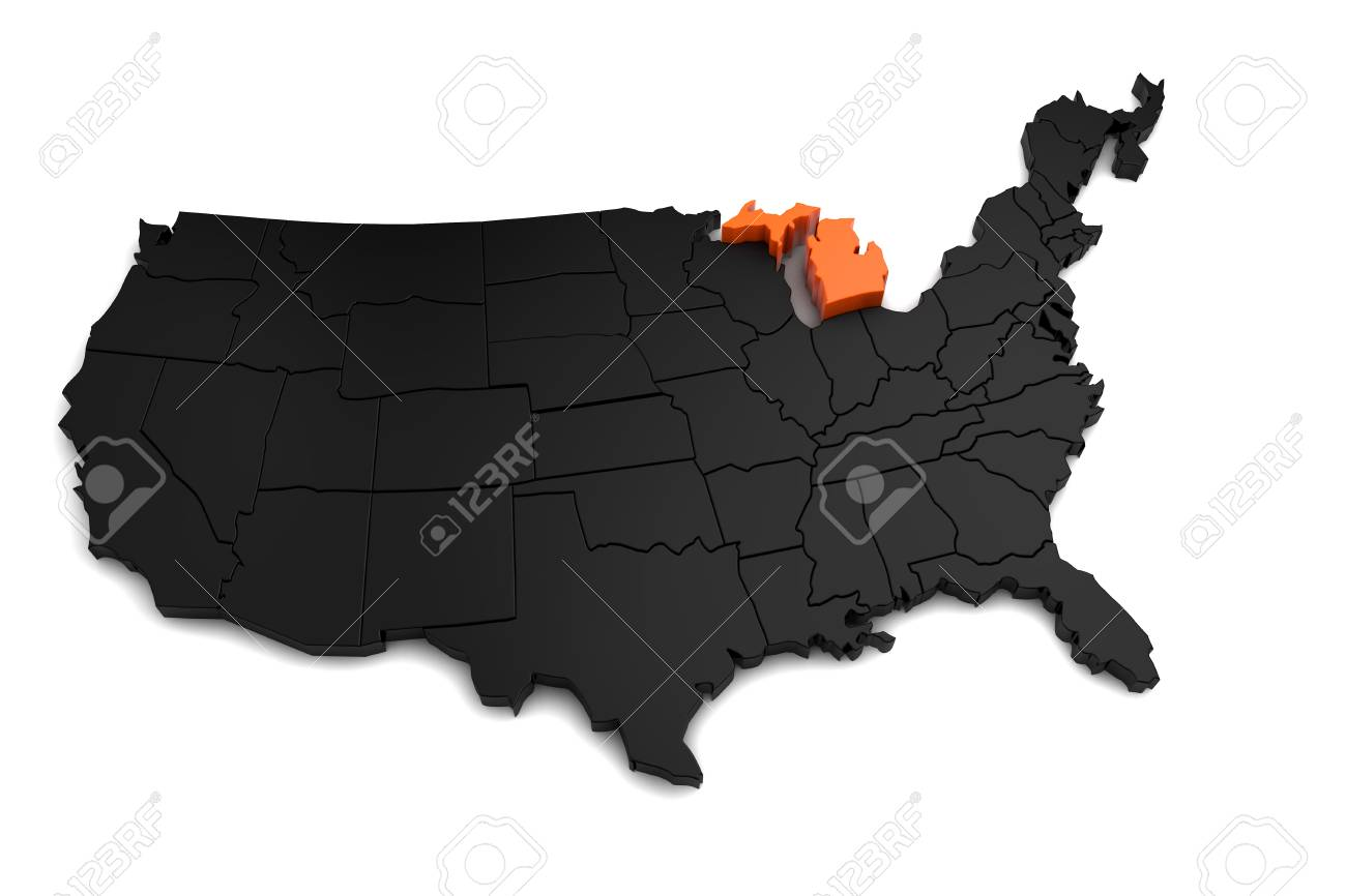 United States Of America 3d Black Map With Michigan State - Us-map-michigan-state